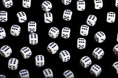 Dice background. Background of dice with #6, isolated on black - winner concept Stock Photos