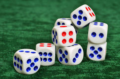 Dice on a baize Royalty Free Stock Photo
