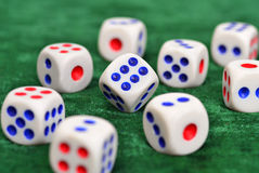 Dice on the baize Stock Image
