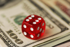 Dice and banknotes, Royalty Free Stock Photography