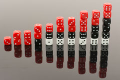 Dice bar chart. Bar chart made of 6 sided dices Stock Image