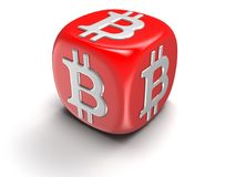 Dice with Bitcoin sign. Image with clipping path Stock Photography
