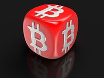 Dice with Bitcoin sign. Image with clipping path Royalty Free Stock Images