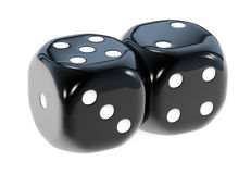 Dice Black. Pair of a six sided black gamble dice, isolated on white background. Game of chance Royalty Free Stock Images