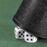 Dice and black cup Royalty Free Stock Images