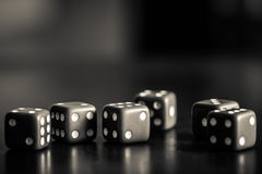 Dice. Black and White Dice taken for a casino Royalty Free Stock Photo