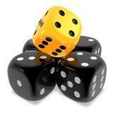 Dice black and yellow. Unique yellow among the black, shiny five dice cubes - stacked on white isolated background. 3D Fate and risk metaphor Stock Photo