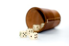 Dice box. Isolated on white background Royalty Free Stock Photos