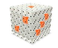 Dice box. Box 3D: Glassy grey-amber die of dice / cluster v.1 Royalty Free Stock Photo