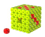 Dice box. Problem to solve. Incomplete dice cluster box, metaphor of completion, matching or task management Royalty Free Stock Images
