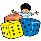 Dice and boy, vector icon Stock Photography