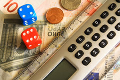 Dice and calculator Royalty Free Stock Photos