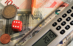 Dice and calculator Royalty Free Stock Photography
