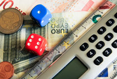 Dice and calculator Stock Photography