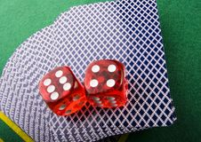 Dice on cards Royalty Free Stock Photography