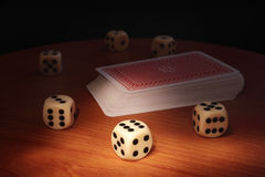 Dice and cards Royalty Free Stock Photo
