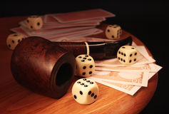 Dice and cards Royalty Free Stock Image