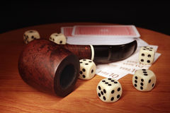 Dice and cards Royalty Free Stock Photography