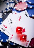 Dice on cards in casino. Casino - a place where you can win or lose money Stock Image