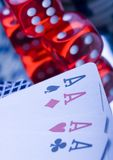 Dice on cards in casino Stock Images