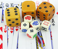 Dice & Cards Royalty Free Stock Photos