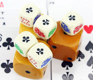 Dice and Cards Royalty Free Stock Photos