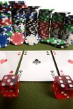 Dice, cards and poker chips Royalty Free Stock Photography