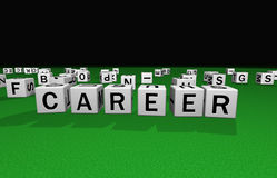 Dice career. Dice on a green carpet making the word career Stock Photo