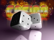 Dice with casino sign. Dice on reflection background with Casino sign Royalty Free Stock Photography
