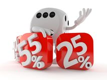 Dice character behind percentage signs. Isolated on white background. 3d illustration Royalty Free Stock Photography