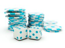 Dice with chips Royalty Free Stock Image