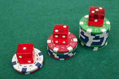 Dice and chips Stock Photography