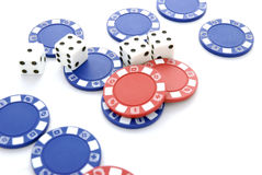 Dice and chips 2. Four dice and blue red chips on a white background Royalty Free Stock Photos