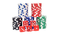 Dice and chips Royalty Free Stock Photos
