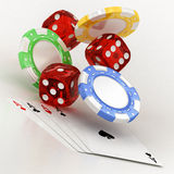 Dice, chips and cards Royalty Free Stock Images