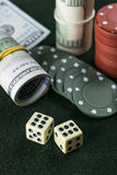 Dice, Chips and Cash Stock Photography