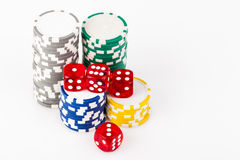 Dice on Chips Royalty Free Stock Photo
