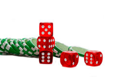 Dice and Chips isolated Stock Image