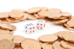 Dice and coin Royalty Free Stock Photo