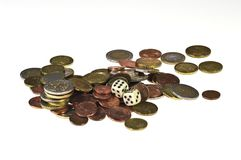 Dice and coins Royalty Free Stock Photo