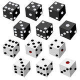 Dice Collection. Vector illustration of black and white dices Royalty Free Stock Photo