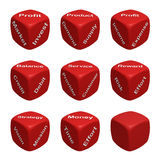 Dice Collection One - Business and Finance. Red Dice Collection with words devoted to Business and Finance 3d render Royalty Free Stock Photos