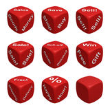 Dice Collection Two - Retail. Red Dice Collection with words devoted to Retail 3d render stock illustration