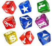 Dice with comon symbols Stock Images