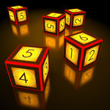 Dice Countdown Awards. Dice with countdown of cinema industry. Concept of game, award, collocation of film, number of awards, etc royalty free stock images