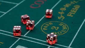 Dice On The Craps Table. Picture Of Some Dice On A Craps Table Royalty Free Stock Photos