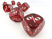 Dice. Cube with percent. Stock Photos