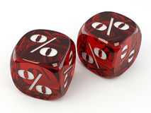 Dice. Cube with percent. Royalty Free Stock Images