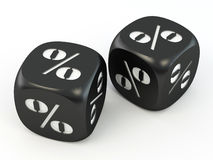 Dice. Cube with percent. Stock Photo