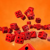 Dice Cubes Falling. Many dice cubes falling - 3d render illustration Royalty Free Stock Images
